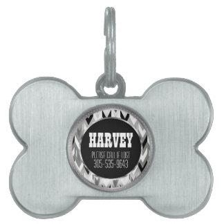 Placa Para Mascotas Plata elegante y nombre negro de las flechas el  