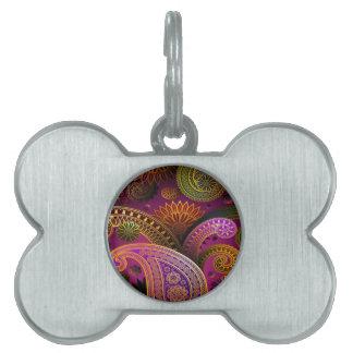 Placa Para Mascotas Púrpura de Paisley