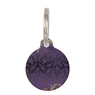 Placa Para Mascotas púrpura, ultravioleta, damasco, vintage, modelo,