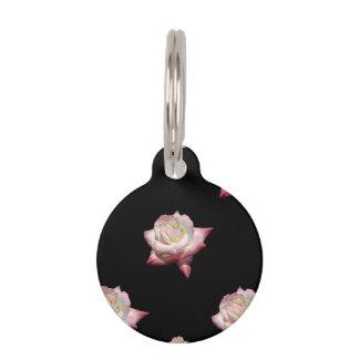 Placa Para Mascotas Rosas esmaltados rosa en negro
