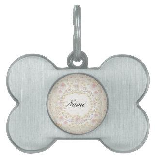 Placa Para Mascotas Seashells y perlas personalizados
