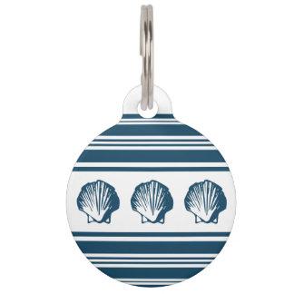 Placa Para Mascotas Seashells y rayas