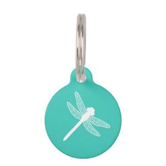 Placa Para Mascotas Silueta blanca de la libélula en la turquesa