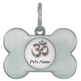 Placa Para Mascotas Símbolo de la yoga de Aum Namaste del ohmio de OM