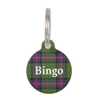 Placa Para Mascotas Tela escocesa de tartán feliz de Cochrane del clan