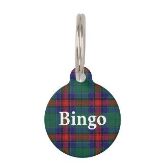 Placa Para Mascotas Tela escocesa de tartán feliz de Jardine del clan