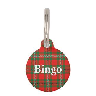 Placa Para Mascotas Tela escocesa de tartán feliz de MacGregor del