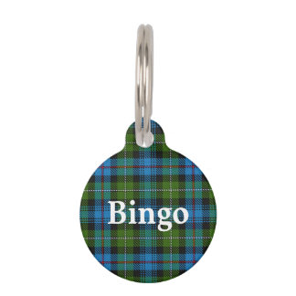 Placa Para Mascotas Tela escocesa de tartán feliz de MacKenzie del