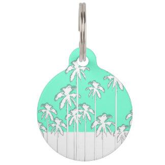 Placa Para Mascotas Trullo de la aguamarina del verano y palmeras