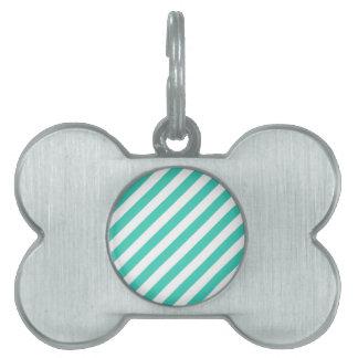 Placa Para Mascotas Trullo y modelo diagonal blanco de las rayas