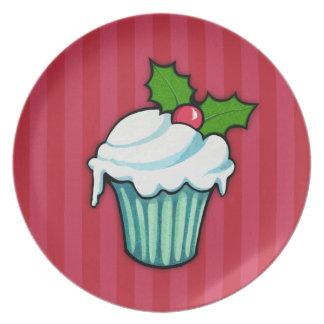 Placa roja 2 de la magdalena del acebo del navidad platos