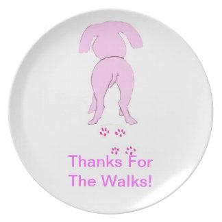 Placa rosada del perro de las gracias del perro qu platos
