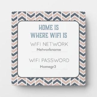 Placa rosada y gris de la huésped de Chevron Wifi Placa Expositora