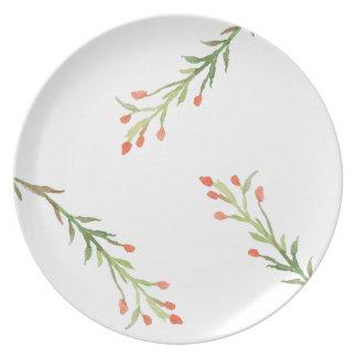 Placa rústica de la melamina de la rama del acebo platos de comidas