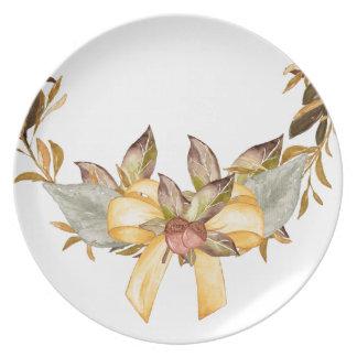 Placa rústica de la melamina del arco de la plato de cena