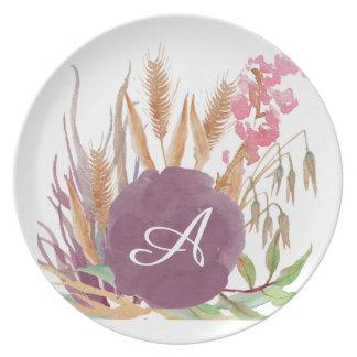 Placa rústica personalizada de la melamina del plato de comida