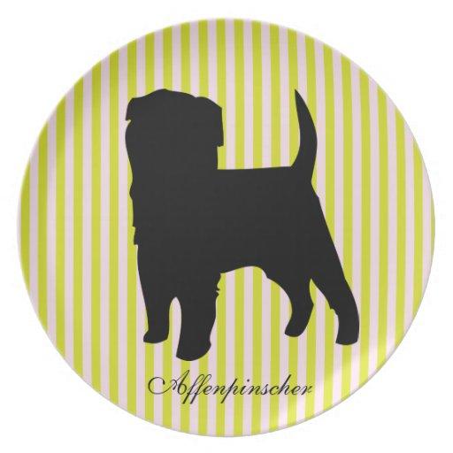 Placa verde y rosada del perro del Affenpinscher d Plato De Cena