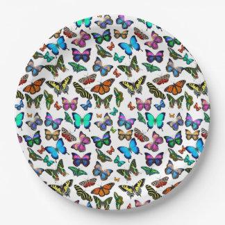 Placas a montones de papel de las mariposas plato de papel