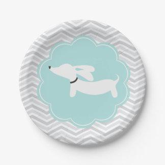 Placas azules del fiesta del Dachshund de Doxie de Plato De Papel