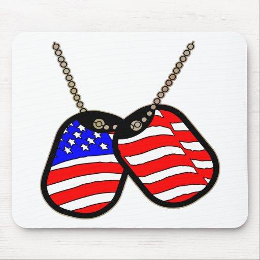 Placas de identificación de la bandera americana alfombrillas de raton