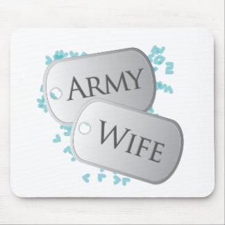Placas de identificación de la esposa del ejército tapete de ratones