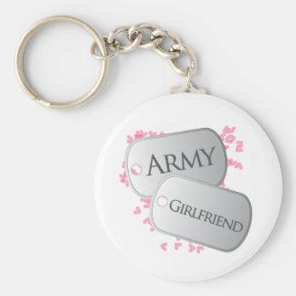 Placas de identificación de la novia del ejército llavero redondo tipo chapa