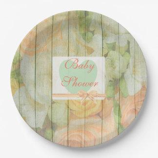 Placas de madera rústicas florales personalizadas plato de papel