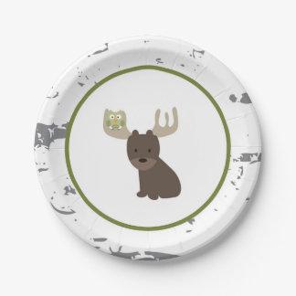 Placas de papel animales del arbolado plato de papel