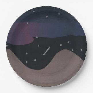 Placas de papel con diseño de la noche estrellada plato de papel