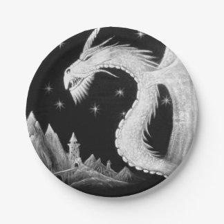 Placas de papel con el dragón en la noche plato de papel