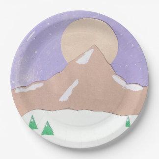 Placas de papel con escena de la montaña plato de papel
