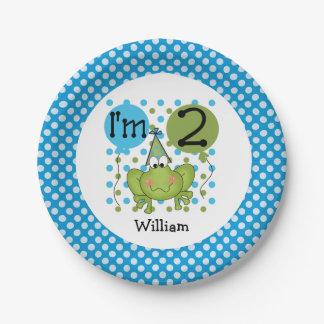 Placas de papel cumpleaños azul de la rana del 2do platos de papel