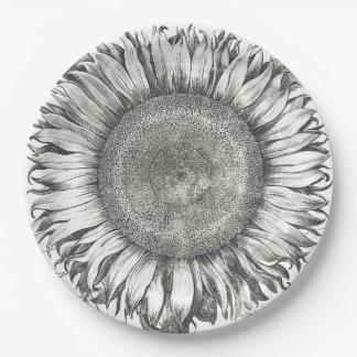Placas de papel de la flor botánica del girasol plato de papel