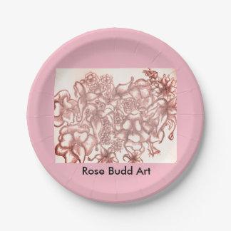 "placas de papel de la flor rosada 7"" plato de papel"