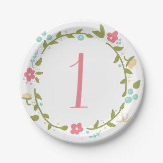 Placas de papel de la guirnalda cumpleaños floral plato de papel
