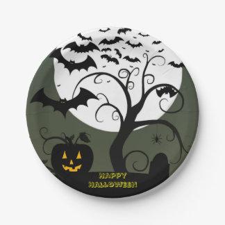 Placas de papel de la noche de Halloween Plato De Papel