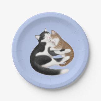 Placas de papel de los gatos maternales del amor plato de papel