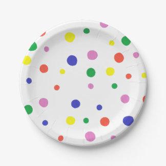 Placas de papel de los lunares coloridos plato de papel