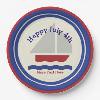 Placas de papel del 4 de julio náutico plato de papel