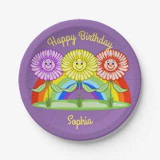 Placas de papel del cumpleaños de las flores plato de papel