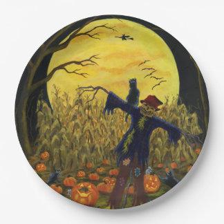 Placas de papel del espantapájaros de Halloween Plato De Papel