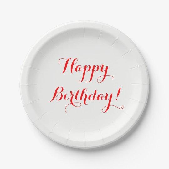 Placas de papel del feliz cumpleaños plato de papel