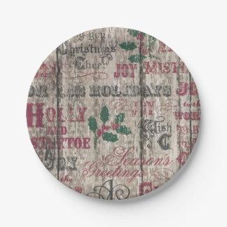 Placas de papel del invierno del navidad del día plato de papel