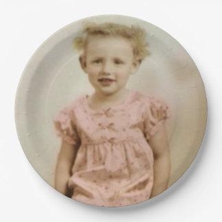 Placas de papel del pequeño del chica del vintage plato de papel