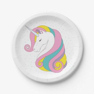 Placas de papel del unicornio plato de papel