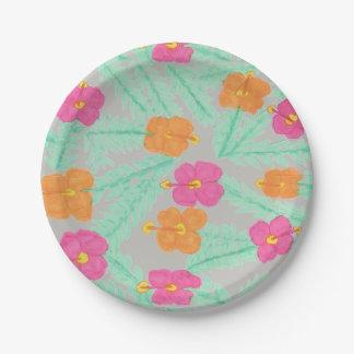 Placas de papel florales de la selva tropical plato de papel