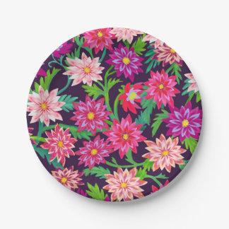 Placas de papel florales encantadas del rosa de plato de papel