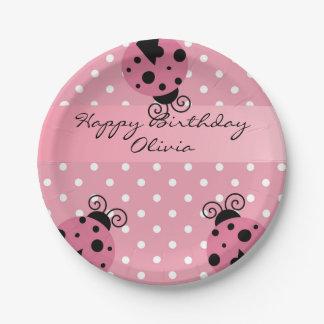Placas de papel personalizadas mariquita rosada plato de papel
