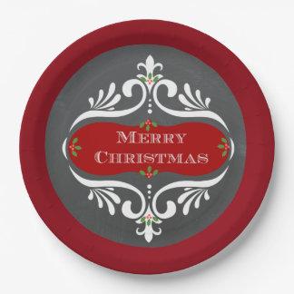 Placas de papel rojas de la pizarra del navidad plato de papel