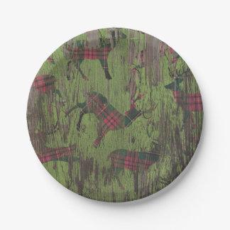 Placas de papel rústicas de los ciervos verdes de plato de papel